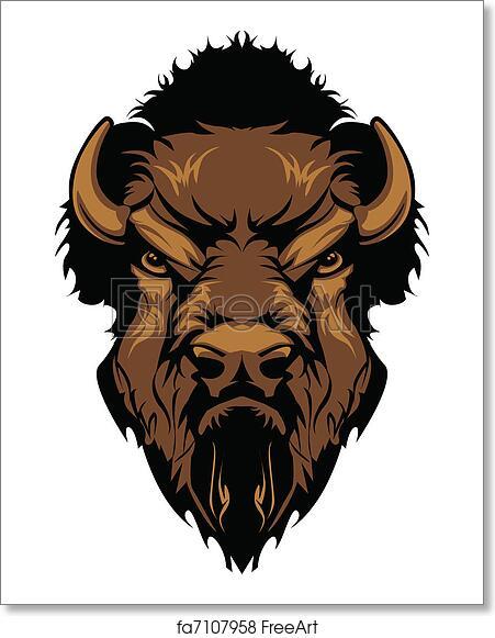 free art print of buffalo bison mascot head graphic graphic mascot