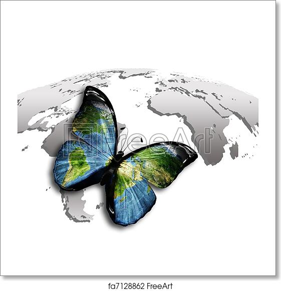 Free Art Print Of Butterfly World Butterfly With A World Map On The