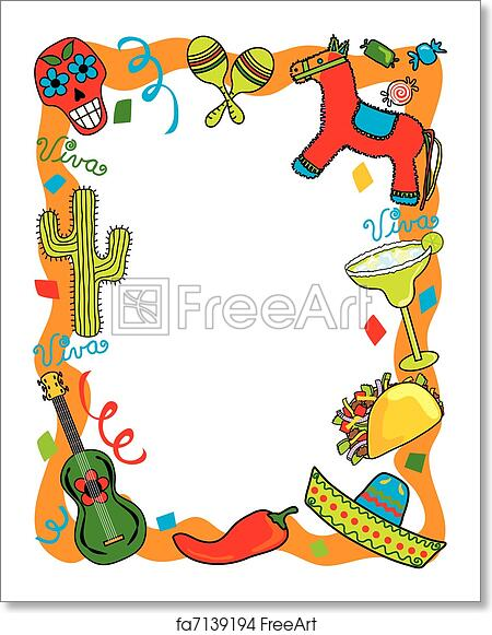 free art print of mexican fiesta party invitation - Mexican Frame