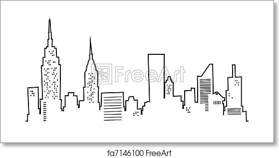 free art print of cartoon new york skyline cartoon silhouette of