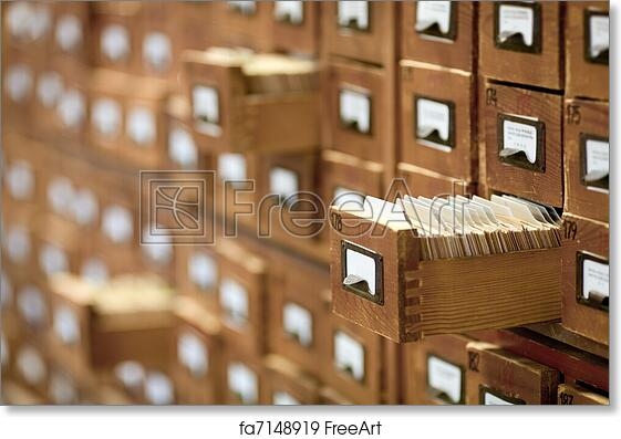 Free Art Print Of Database Concept. Vintage Cabinet. Library Card Or File  Catalog.