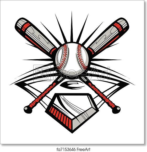 Free art print of Baseball or Softball Crossed Bats w