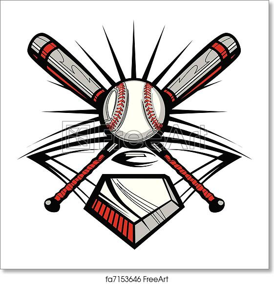 Free art print of Baseball or Softball Crossed Bats w
