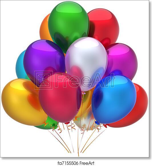 Free Art Print Of Happy Birthday Balloons Decoration Party Beautiful Multicolored Holiday Graduation Anniversary Retirement