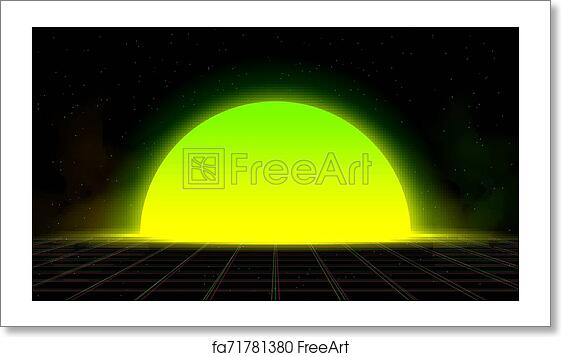 synthwave vaporwave retrowave yellow green sunset background glitch laser grid starry sky yellow and green smoke design for poster cover wallpaper web banner etc.jpg?units=in&pw=11.0&ph=6