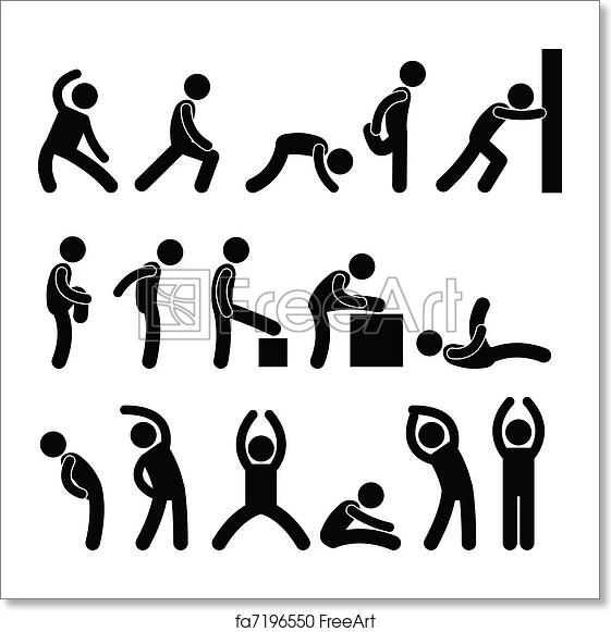 Free art print of People Athletic Exercise Stretch. A set