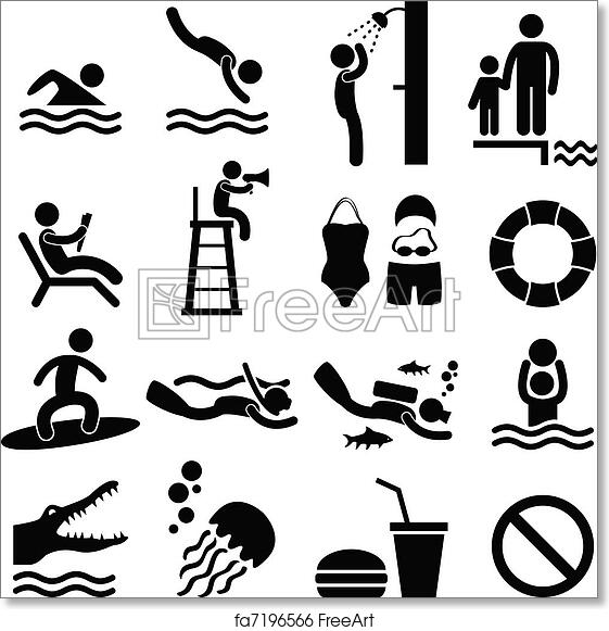 photo relating to Free Printable Beach Stencils identify Cost-free artwork print of Swimming Pool Sea Seaside Icon Brand