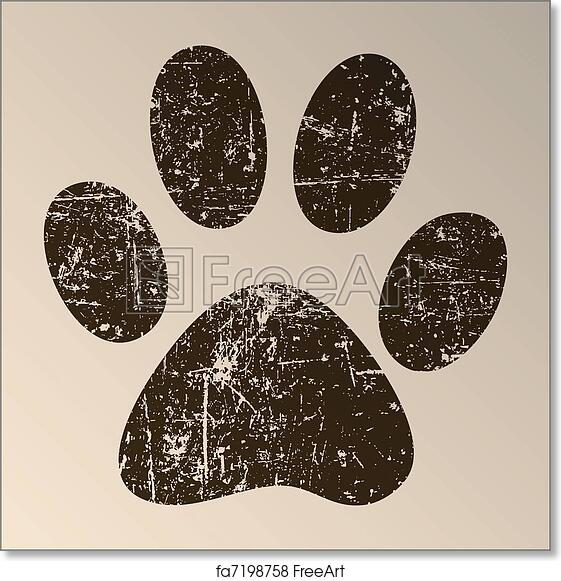 image relating to Free Printable Paw Prints identified as Cost-free artwork print of Paw Print
