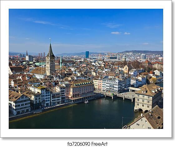 Free Art Print Of View On Zurich, Switzerland