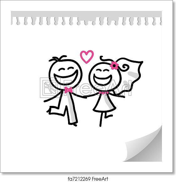 Free Art Print Of Wedding Couple Cartoon Wedding Couple On Realistic Paper Sheet Freeart Fa7212269