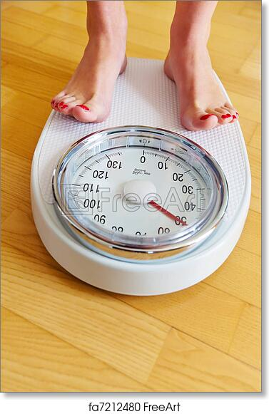 free art print of feet of a woman on bathroom scale - Bathroom Scales