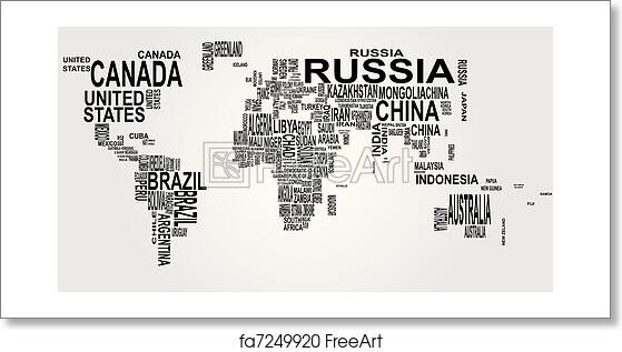 Free Art Print Of World Map With Country Name Illustration Of - World map pic with country name