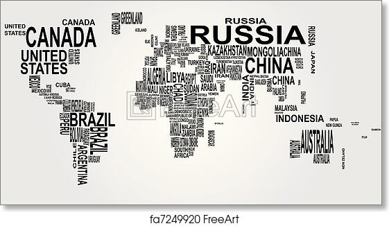 Free Art Print Of World Map With Country Name