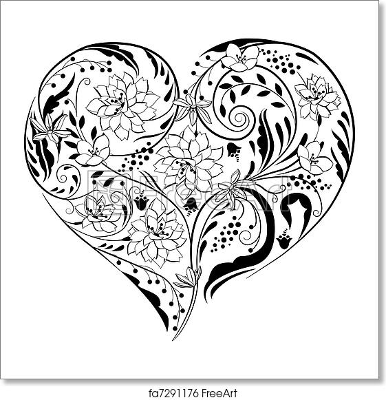 Free Art Print Of Black And White Plants And Flowers In Heart Shape