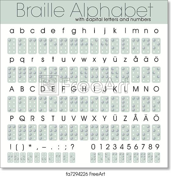 photo relating to Printable Braille Alphabet titled Cost-free artwork print of Braille Alphabet With Figures
