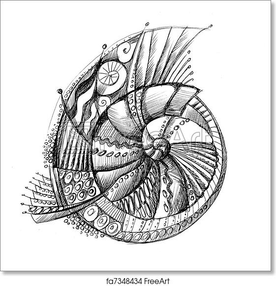 Free Art Print Of Abstract Unusual Pencil Drawing Spiral Shell