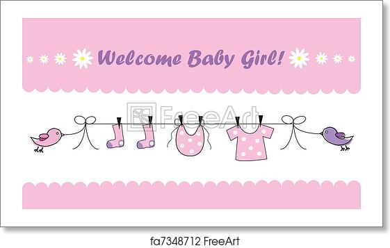 free art print of welcome baby girl cute pink welcome home baby