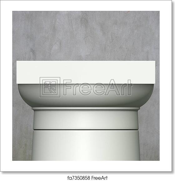 Free art print of 3d render classic Roman column on gray grunge background
