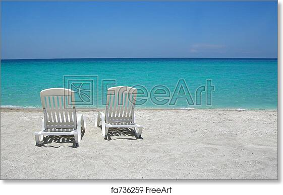 free art print of caribbean beach chairs empty tropical beach