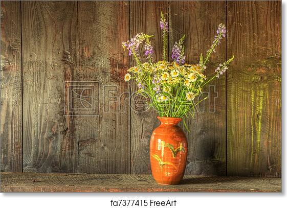 Free Art Print Of Still Life Image Of Dried Flowers In Rustic Vase