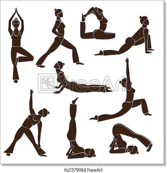 Free Art Print Of Set Yoga Poses