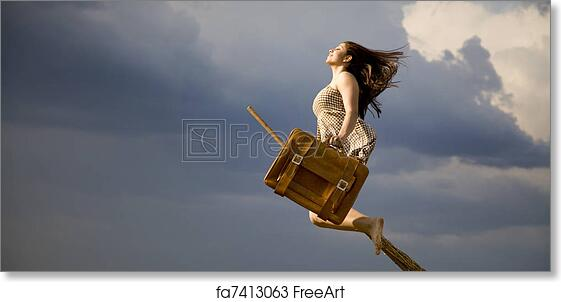 Free art print of Young brunette witch on broom flying away