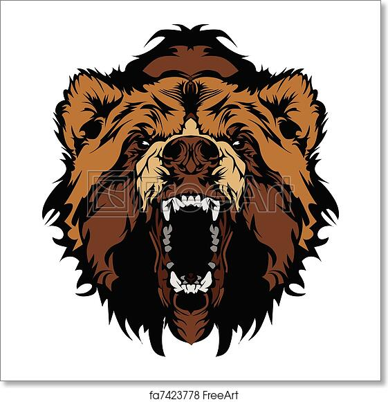 free art print of grizzly bear mascot head vector gra graphic