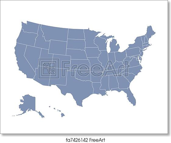 Free art print of Vector map of the united states of america each