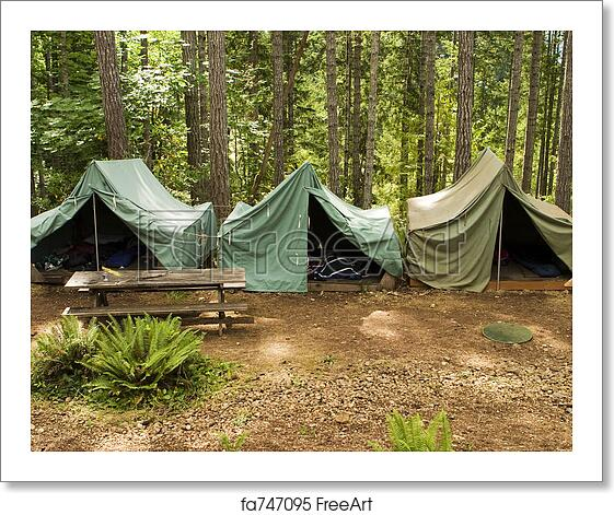Free art print of Tents At Boy Scout Camp