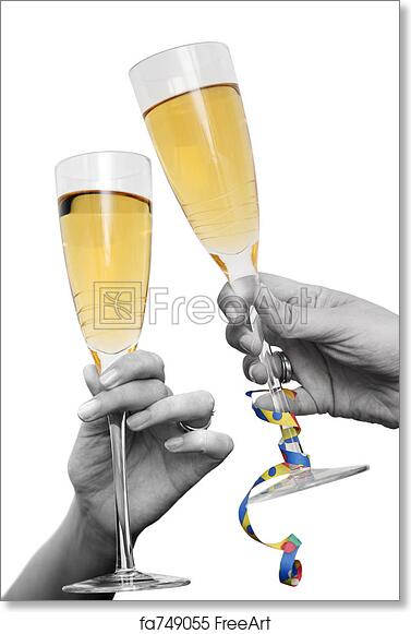 free art print of champagne cheers two hands and champagne glasses