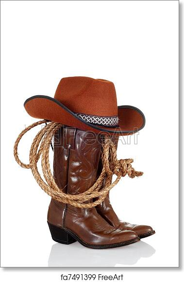 Free art print of Cowboy boots with hat and a lasso. Cowboy boots with hat  and a lasso with reflection  38fd833ba9c3