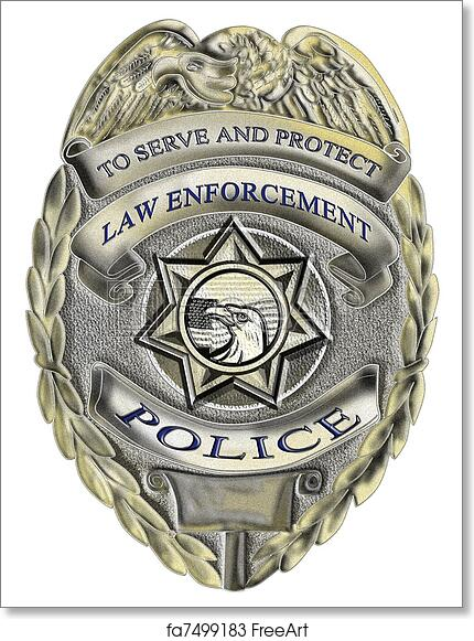 photograph relating to Printable Police Badge named Free of charge artwork print of Regulation enforcement law enforcement badge