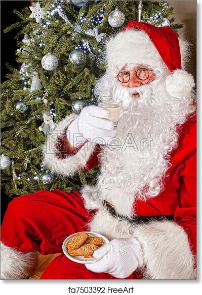 Free Art Print Of Santa With Cookies And Milk