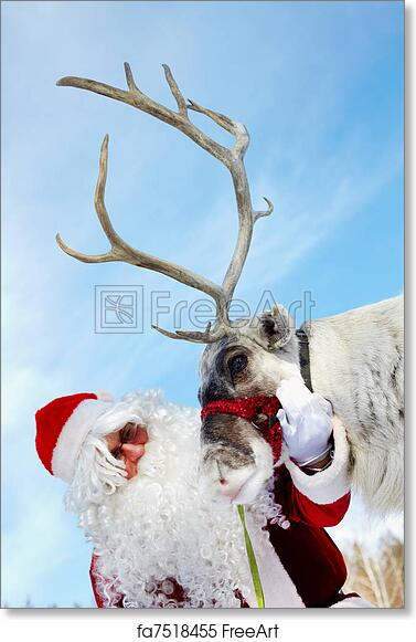 free art print of santa and rudolph santa claus stroking his