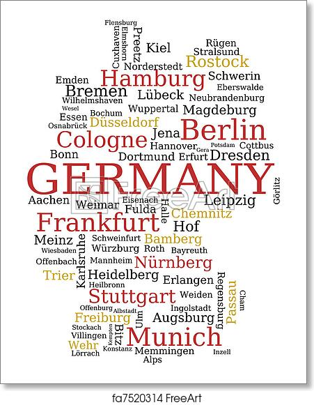 Map Of Germany Outline.Free Art Print Of Germany Map Germany Outline Map Made Of City