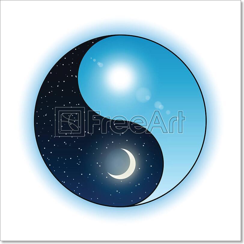 Sun And Moon In Yin Yang Symbol Art Print Home Decor Wall Art Poster