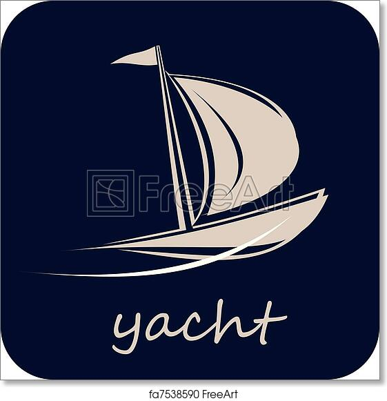 Free art print of Yacht, Sailboat - Vector Icon