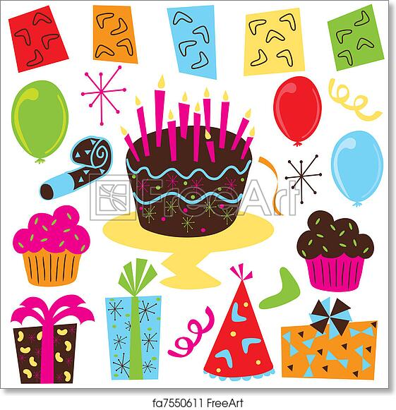 Free Art Print Of Retro Birthday Party Clipart With Cake Cupcakes Balloons Streamers Favors