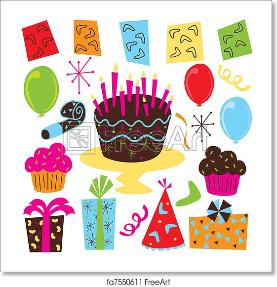 Awe Inspiring Free Art Print Of Retro Birthday Party Clipart Retro Birthday Funny Birthday Cards Online Bapapcheapnameinfo