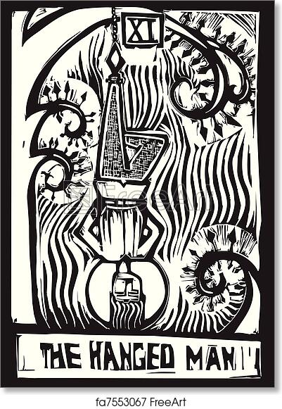photo regarding Printable Tarot Cards to Color called No cost artwork print of Tarot Card Hanged Guy