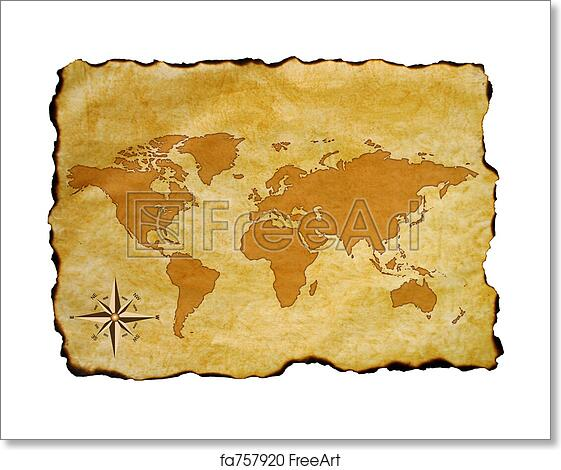 Free art print of old world map scroll of old burnt world map with free art print of old world map gumiabroncs Images