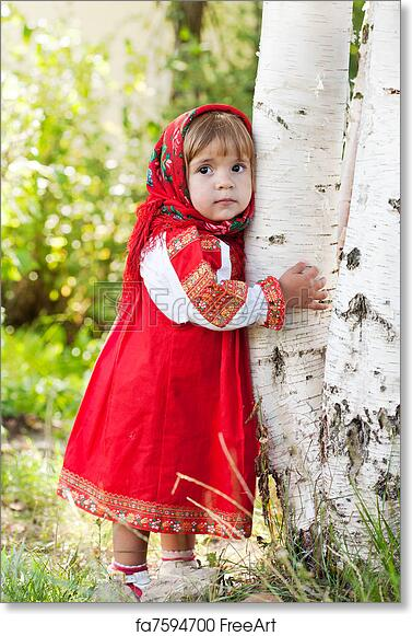 9db0311cda6dd Free art print of Little girl in Russian traditional dress standing next to  a birch | FreeArt | fa7594700
