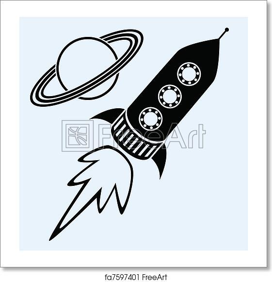 Free Art Print Of Rocket Ship And Planet Saturn Symbols Vector