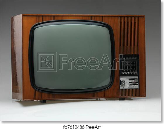 Free Art Print Of Old Tv Set On Gray Background Vintage Black And