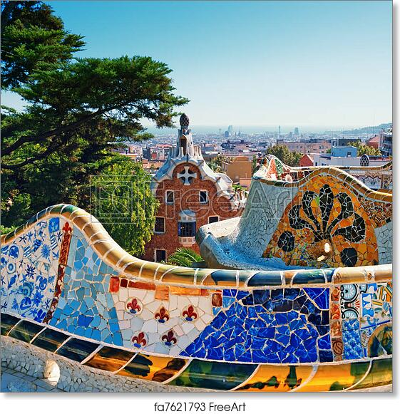 6142f2e9c01 Free art print of Park Guell