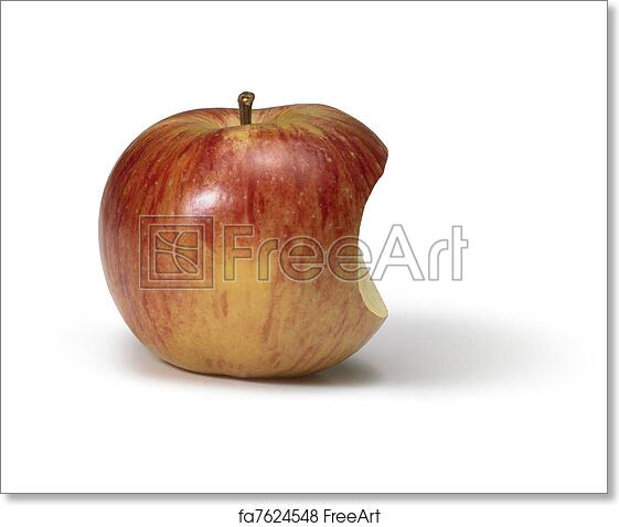 free art print of bite taken out of a apple apple with missing part