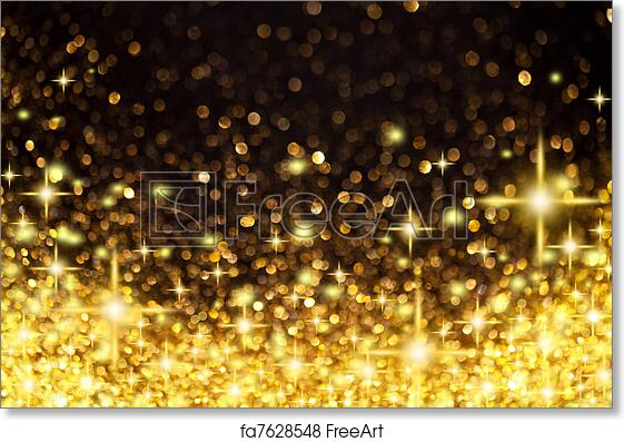 Free art print of Golden Christmas Lights and Stars Background. Image of  Golden Christmas Lights and Stars Background | FreeArt | fa7628548 - Free Art Print Of Golden Christmas Lights And Stars Background