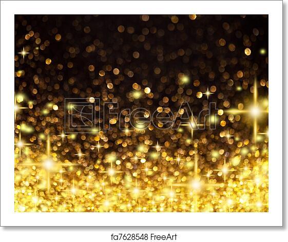 Christmas Lights Background.Free Art Print Of Golden Christmas Lights And Stars Background