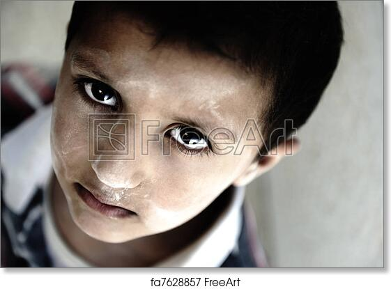 free art print of portrait of poverty little boy with sad eyes