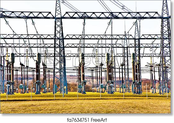 Free art print of Electricity relay station with high-voltage insulator and  power lines